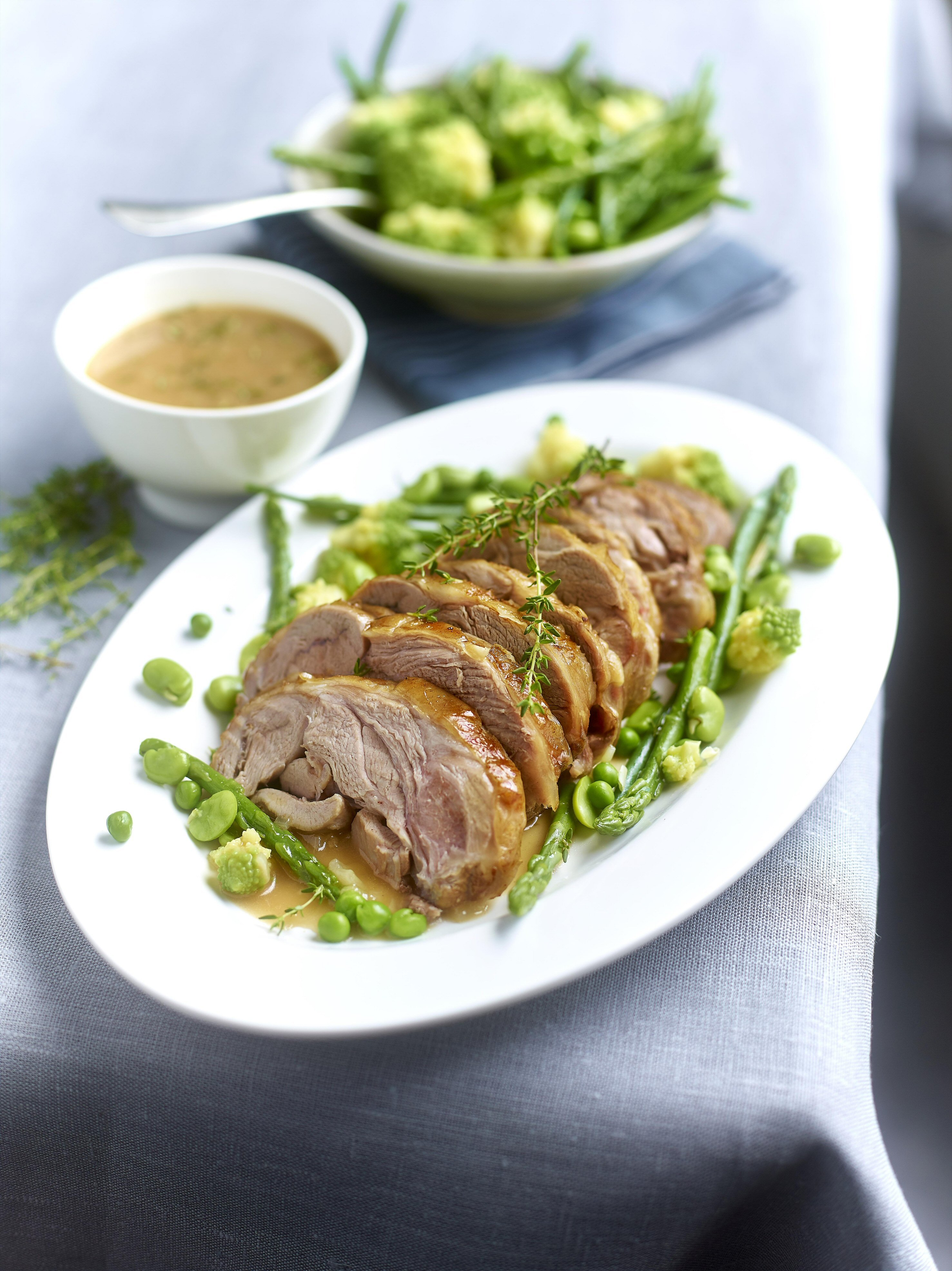 Weekend Family Roast Lamb with Thyme and Spring Vegetables Recipe