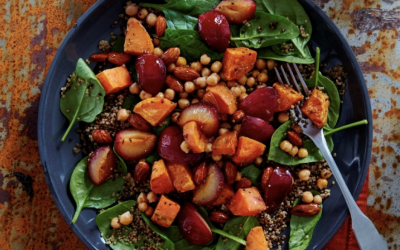 South African Roast Plum, Sweet Potato & Quinoa Salad