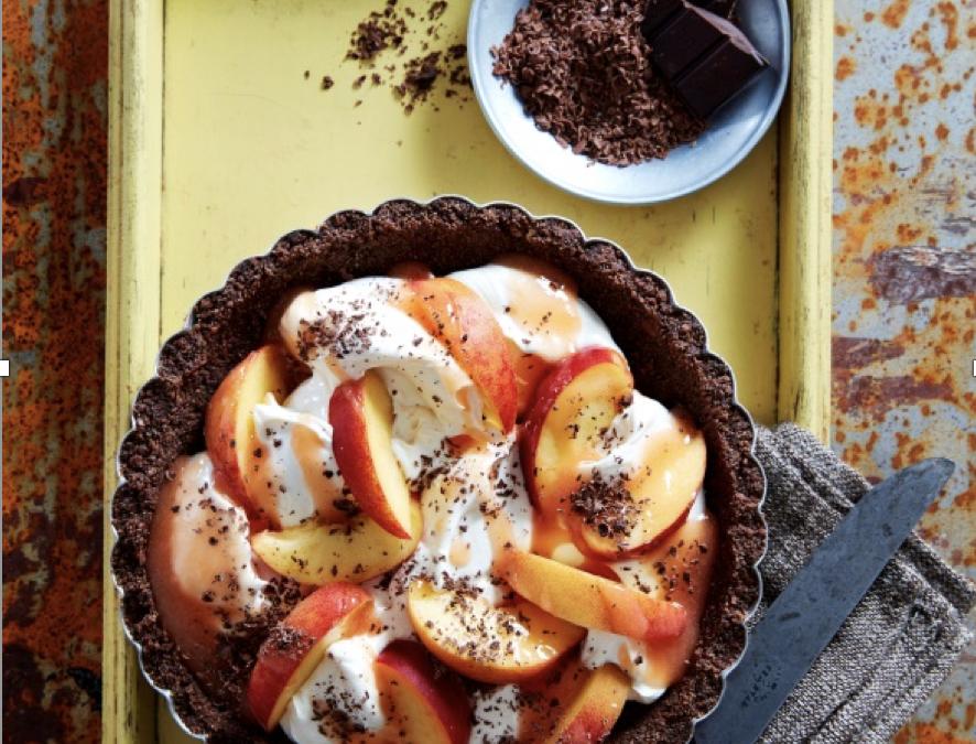 Peachy Chocolate Mascarpone Tart