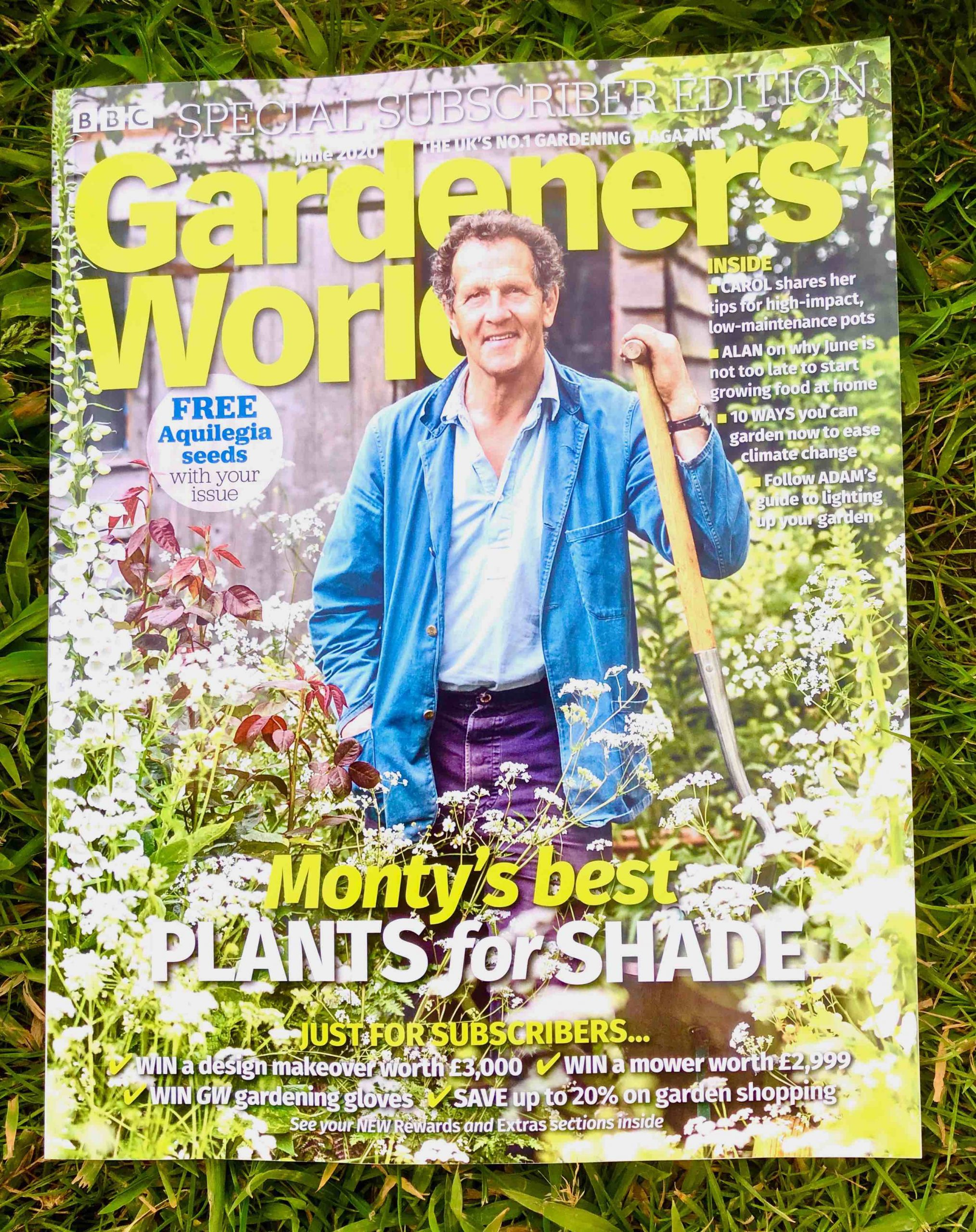 Monty Don on the cover of June 2020 Gardeners World magazine